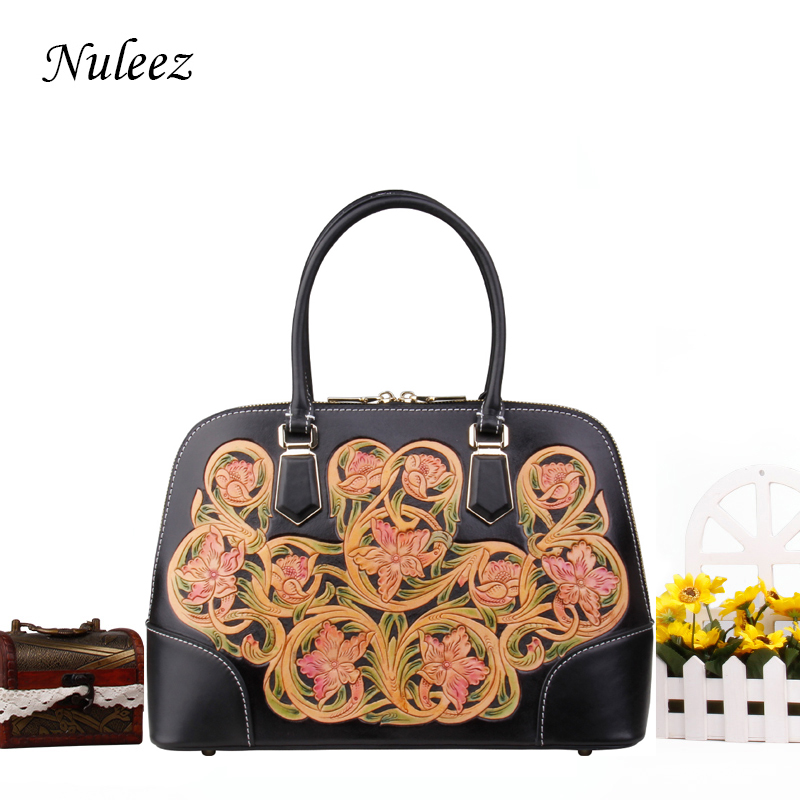 Nuleez real cowhide leather big tote-bag women high quality hand carved floral luxury and delicate 2018 new Nuleez real cowhide leather big tote-bag women high quality hand carved floral luxury and delicate 2018 new