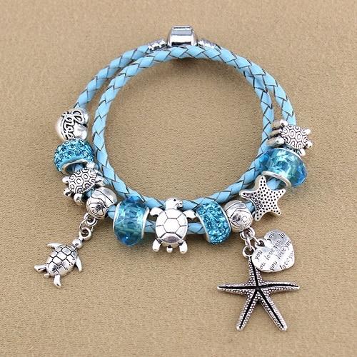 ChangBizi Starfish Turtle Pendants Blue Leather Cord Crystal/Glass Beads fashion lovely Charm Pandora Bracelets& Bangles BT0020