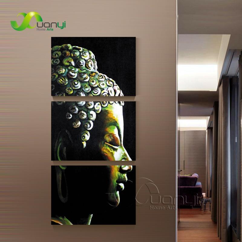 Buddhist Home Decor: 3 Panel Buddha Art Canvas Buddhist Pictures Wall Art