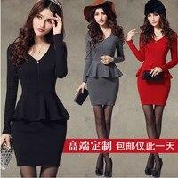 2014 New OL Women Dress Work Wear Ruffle Elegant Woman Pencil Office Dress Vestidos Femininos Beige