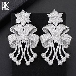 Image 5 - GODKI 72mm Trendy Luxury Bowknot Tassels Nigerian Long Dangle Earrings For Women Wedding Zirconia CZ Dubai Dubai Bicolor Earring