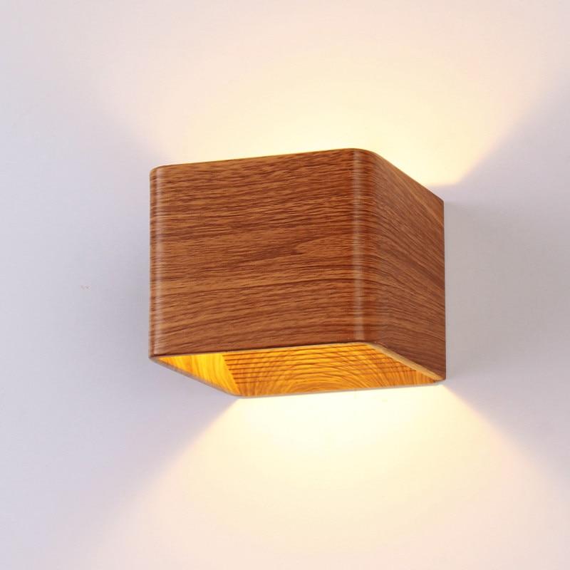 Modern Simple Wooden Color Aluminum Cube LED 6W Wall Lamp for Foyer Bedside Aisle Corridor Indoor Lighting Fixture 110/220V 1934 декоративні лампи із дерева у стилі бра