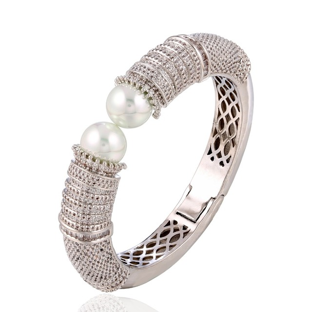 43f4a338d0961 US $66.49 5% OFF|GrayBirds Excellent Love Bangle Rhodium Plated With Cubic  Zircon & Imitation Pearl Bangles New Design Fashion Jewelry QTB004-in ...