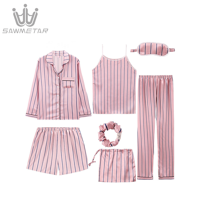 Image 4 - Womens Silk Satin Pijama 7Pieces Pajamas Sets Striped Print Pyjamas Women Long Sleeve Sleepwear Spring Summer Autumn HomewearPajama Sets   -