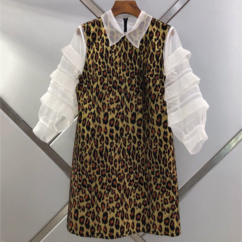 Patchwork Léopard Robe longueur Mode Pic As Femmes Lanterne Automne Manches Turn Genou Sexy 2019 down Col Club osQrCxBhtd