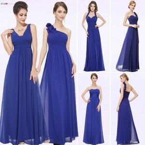 Image 2 - ブルゴーニュウエディングドレス以来きれいな女性の 2020 格安aラインシフォンロイヤルブルーロング新婦のドレスウェディングパーティー