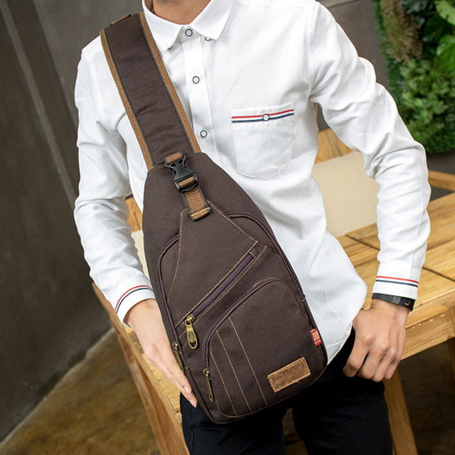 3efa43245f54 Men Canvas Vintage Sling Chest Bag High Capacity Cross Body Messenger Shoulder  Back Pack Anti Theft