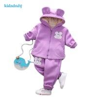 2016 Fashion Winter Children Set Cartoon Girl Baby Children S Clothing Thickening Plus Two Piece Suit