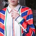 Ving 2017 Mulheres Outono Nova Chegada Tarja Camisa Impressão de Moda Feminina Turn-down Collar Blusa