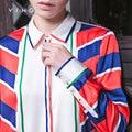 Ving 2017 Women Autumn New Arrival Stripe Print Shirt Female Fashion Turn-down Collar Blouse