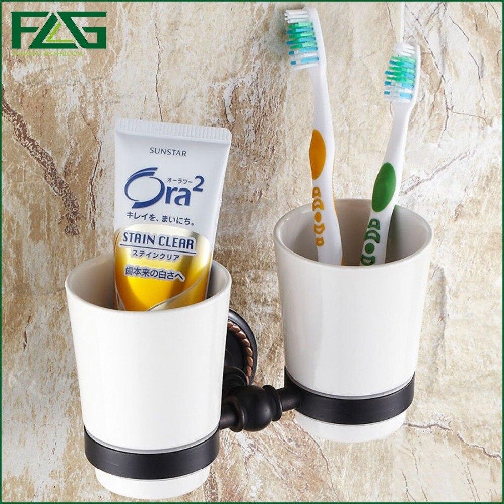ФОТО FLG New Brass Oil Rubbed Bronze Tumbler Holder Cup&Tumbler Holders Tumbler Toothbrush Holder Bathroom Accessories Banheiro G1681