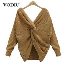 Свитер vodiu, Женский вязаный свитер, женский джемпер, пуловер с длинным рукавом, витой v-образный вырез, однотонный, модный, теплый, новогодний, дизайнерский, хит