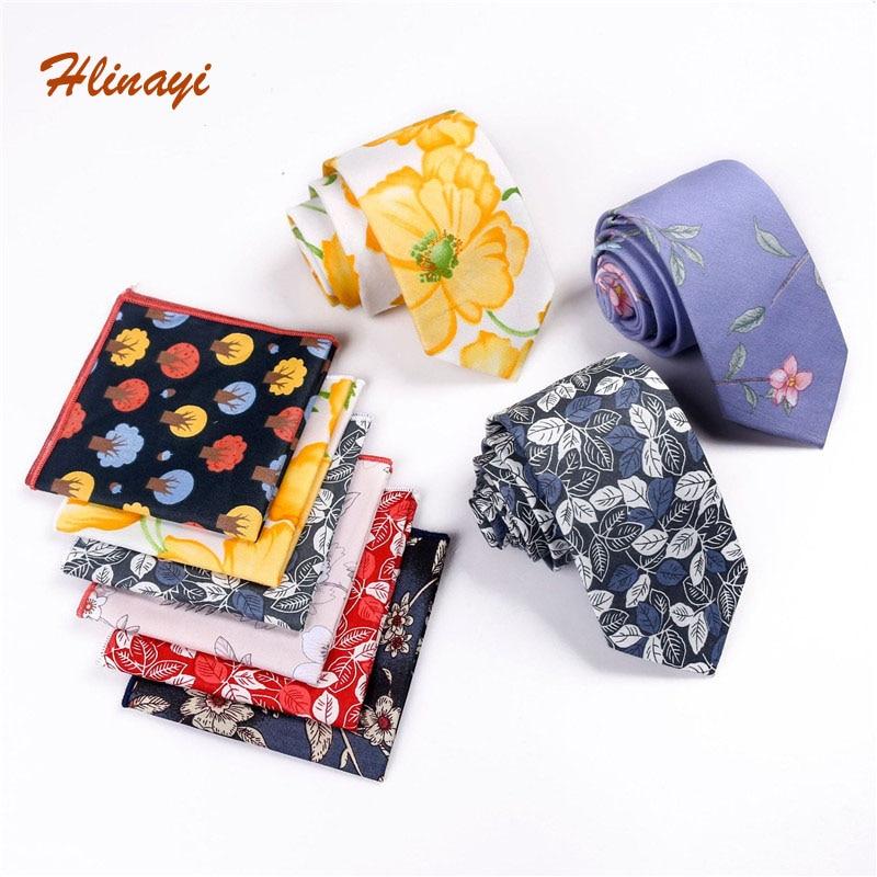 Hlinayi  2019 Cotton Tie Set Fresh Idyllic Flower Tie Cotton Printed Pocket Towel Set