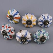 1x Modern Pumpkin Furniture Handles Kitchen Cabinet Pulls knobs Hand-painted Ceramic For