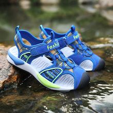 ULKNN Boys sandals black version 2019 summer new childrens Baotou non-slip soft bottom baby beach shoes kids sandalies
