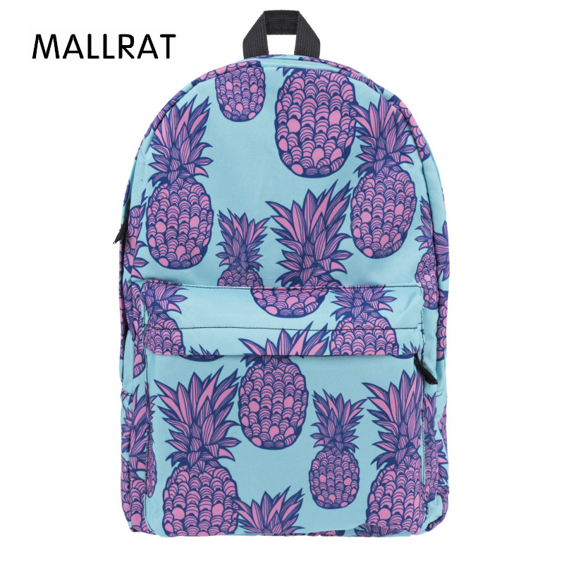 MALLRAT Pink Pineapple 3D Printing Backpack Women Mochila Fashion School Bags for Teenage Girls Sac a Dos Canvas Backpack fashion women floral printing backpack daypacks canvas school bags for teenager girls rucksack travel backpack sac a dos femme
