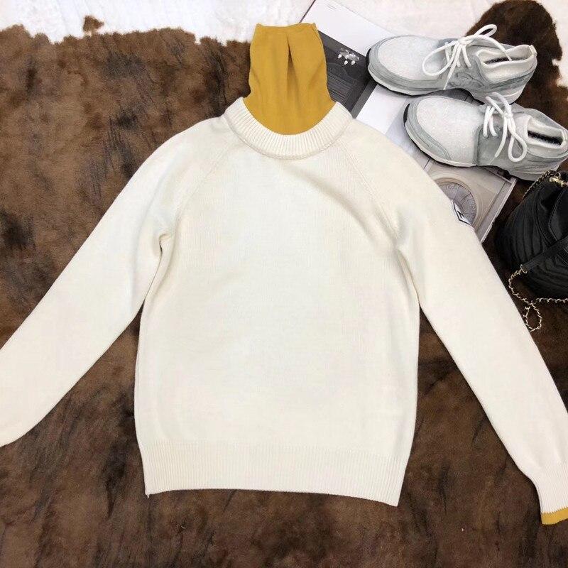 Свитер пуловеры женские осенние с длинным рукавом свитер леди 2018 Повседневная водолазка белый свитер