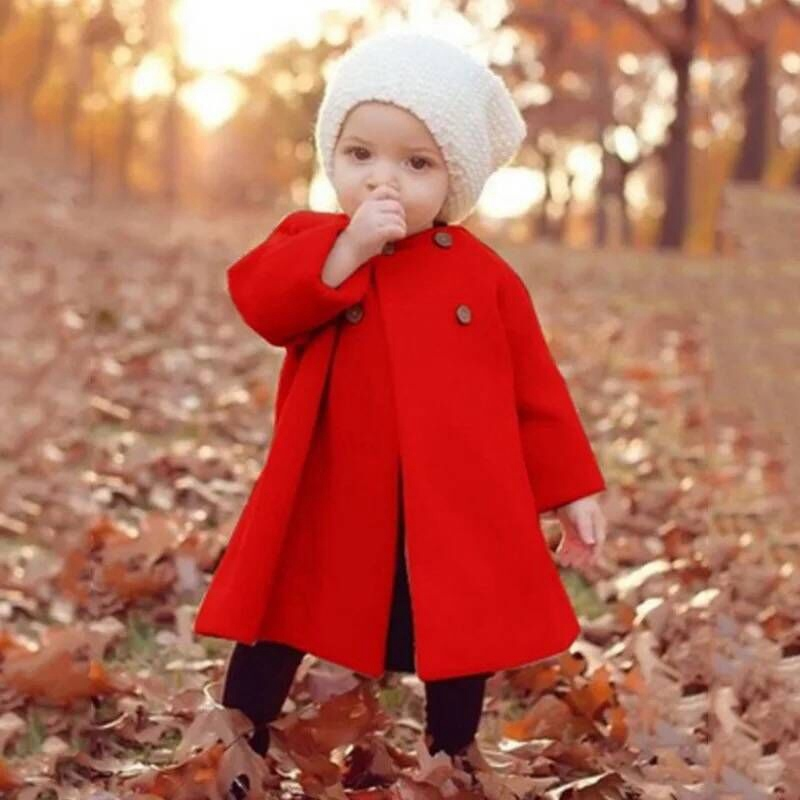 Baby Children girls Wool & Blends Autumn and winter windbreaker full sleeve button coat round neck cloak coat choker neck cloak sleeve top