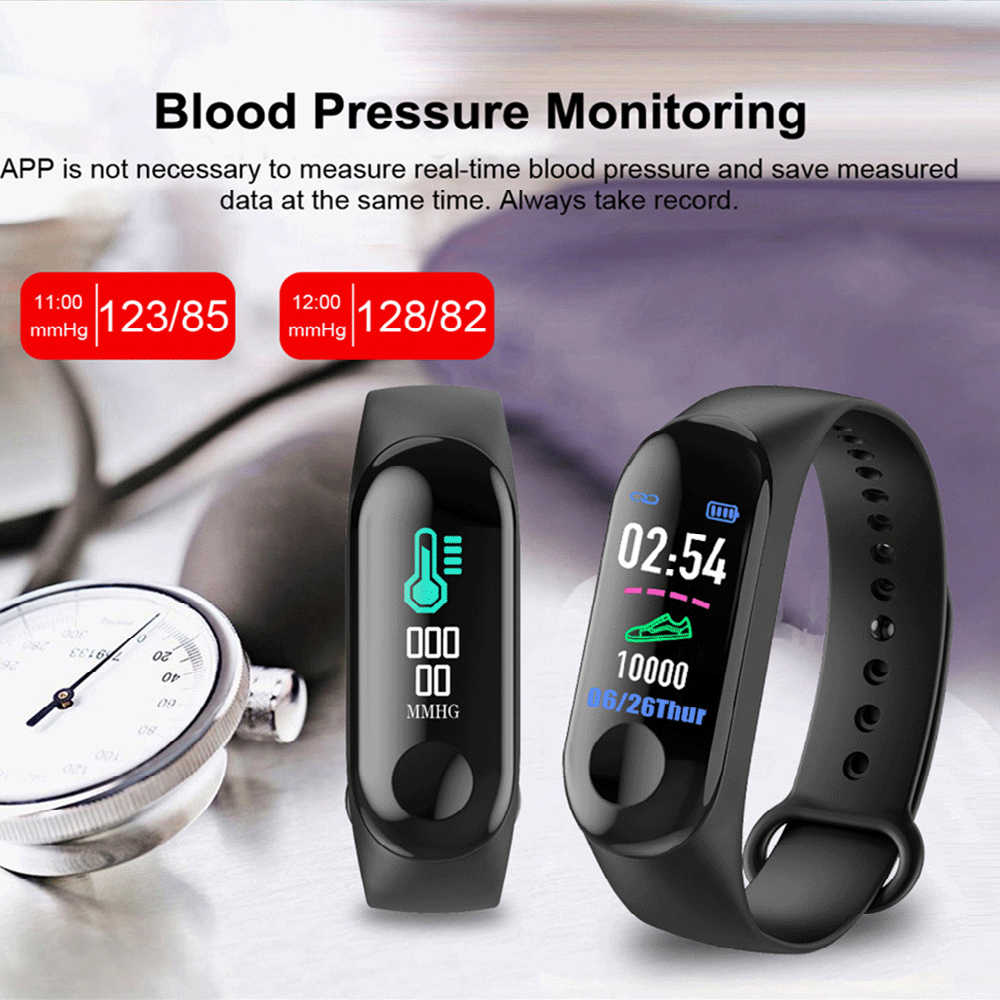 M3 Plus Waterproof Smart Watch M3Plus Bluetooth  Wristband Fitness Tracker Heart Rate Activity Bracelet Sport Smartwatch
