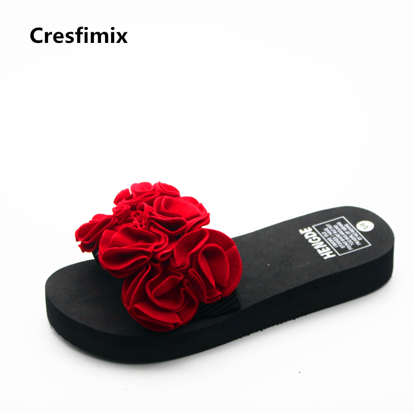 Cresfimix women fashion red floral slides lady cute spring & summer slip on slippers lady cute 3cm heigh increase beach slippers baitclothing women cute spring