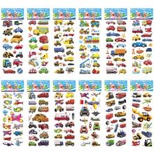 12 folhas/conjunto dos desenhos animados tráfego carro aeronaves diy adesivos brinquedos pvc scrapbook para crianças diário notebook decoração presentes