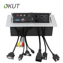 OKUT K518 HD ( solderless ) HDMI VGA AV RJ45  multimedia desktop socket / multimedia new five-hole outlet Silver