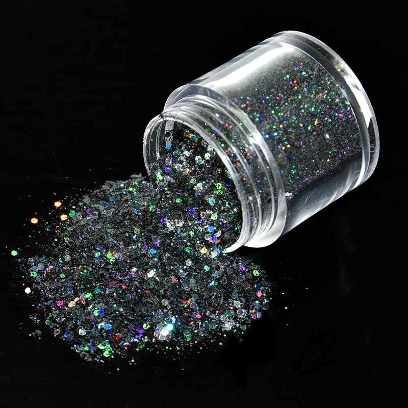 1Box 10ml Black Mixed Sequins Nail Glitter Powder Super Shiny Hexagon Shape Powder Nail Decoration