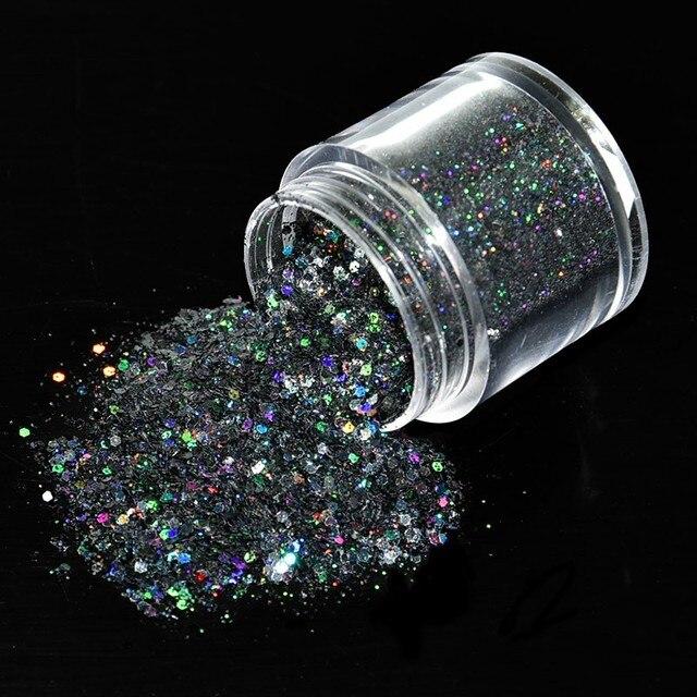 1 caja de 10ml de lentejuelas mezcladas negras, purpurina en polvo, forma hexagonal súper brillante, decoración de uñas en polvo
