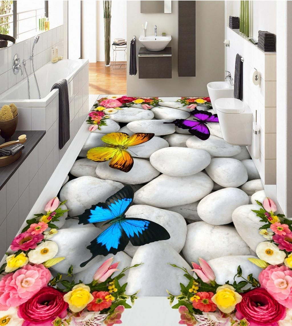 large 3d wall stickers 3d roses butterfly pebbles wall mural floor decals creative design for. Black Bedroom Furniture Sets. Home Design Ideas