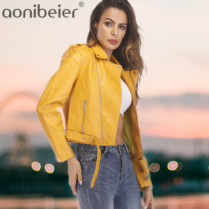 Aonibeier Artificial   Leather   Jackets Autumn Street Short Washed PU Jacket Zipper Basic Jackets Slim Fit Women Coats Outwear