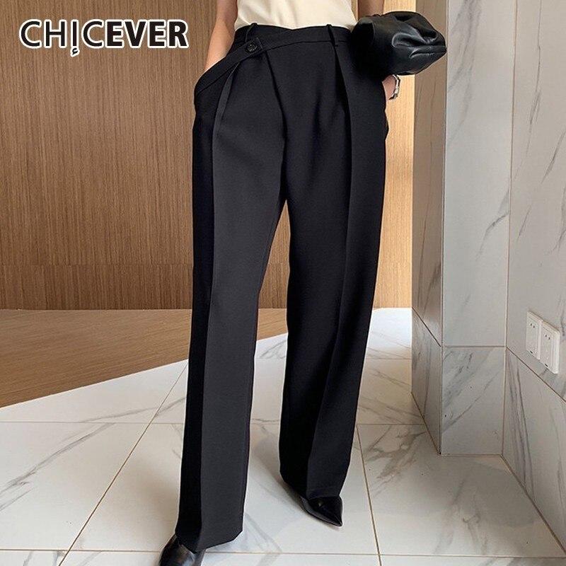 CHICEVER Summer Elegant Solid Women Pant High Waist Irregular  Button Fly Pockets Pleated Slim Regular Female Straight Pants 2020Pants