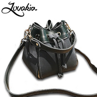 LOVAKIA Fashion Colorful Strap Bucket Bag Women High Quality Pu Leather Shoulder Bag Brand Desinger Ladies