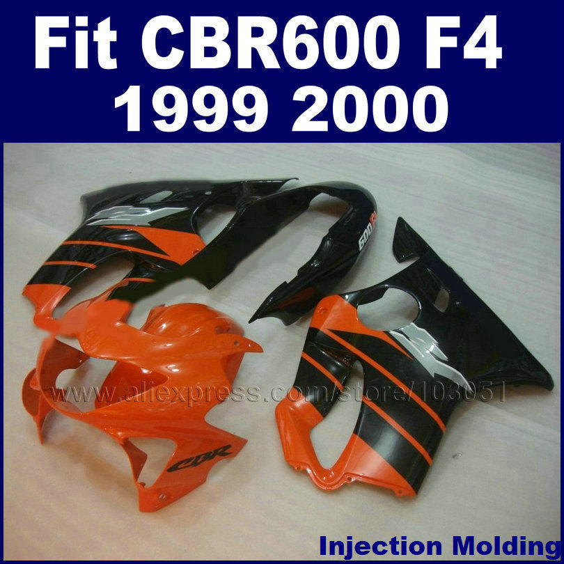 Customize race Injection fairing kits for HONDA 1999 2000 CBR600F4 CBR600 99 00 F4 hulls black orange motorcycle fairngs kit