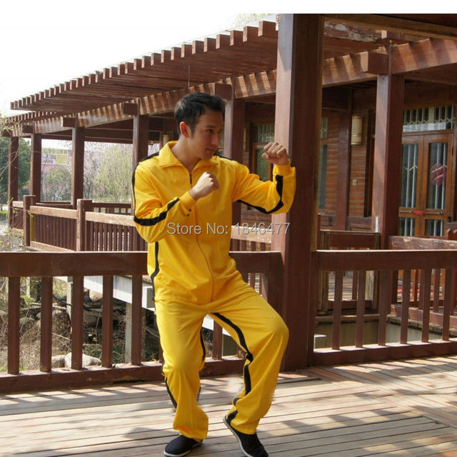 0c3ef2c2903ac Vintage classique Bruce Lee jaune kung fu uniforme jeu de la mort Costume  Kill Bill survêtement