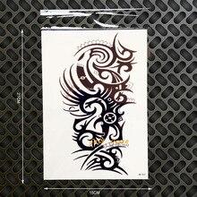 Large Size Henna BOdy ARt ARm Tattoo Black Sleeves Men Temporary Waterproof Tatoo Sticker 21x15CM Big Size Fake Tattoo Shoulder