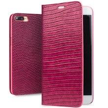 QIALINO iPhone için kılıf 7 Hakiki Deri Lüks Kadın Kapak iPhone 7 Artı Moda 4.7/5.5 inç telefon kılıfı için