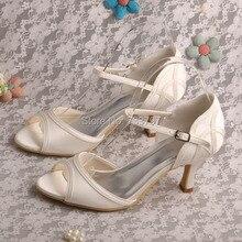 Wedopus MW495 Женщин Среднего Пятки Открытым Носком Свадебная Обувь Кот Атласная