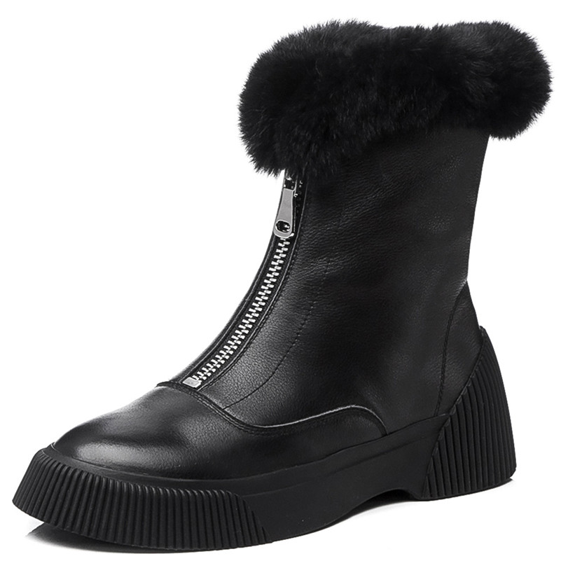 Image 2 - FEDONAS New Arrival Women Cow Leather Ankle Boots Zipper Keep Warm Winter Snow Boots Platforms Casual Shoes Woman Basic Boots-in Ankle Boots from Shoes