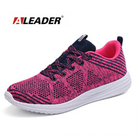 Aleader Summer Women&Men Flyknit Running Shoes Breathable Training Sneakers Lace-up Athletic Footwear Cushioning Sport Sneakers