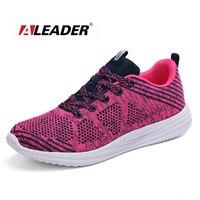 Aleader verano mujeres y hombres flyknit zapatos corrientes de entrenamiento transpirable zapatillas de deporte con cordones athletic calzado amortiguación zapatillas deportivas
