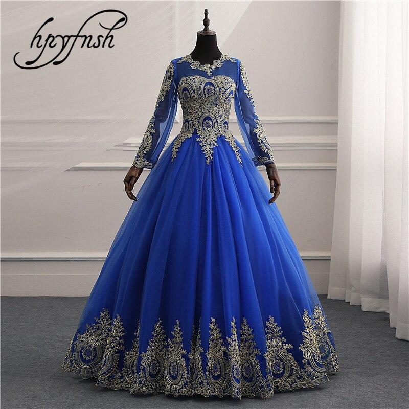 New Vestidos de Noiva Royal blue tull Vintage Long Sleeves Wedding Dress Gold Lace Embroidery Appliqures