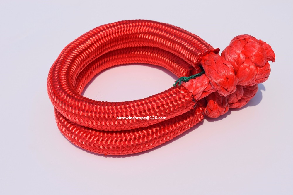 Towing Ropes 2sets Red 9mm*80mm Soft Shackle,winch Shackle,synthetic Rope Shackle For Offroad Auto Parts,boat Winch Rope