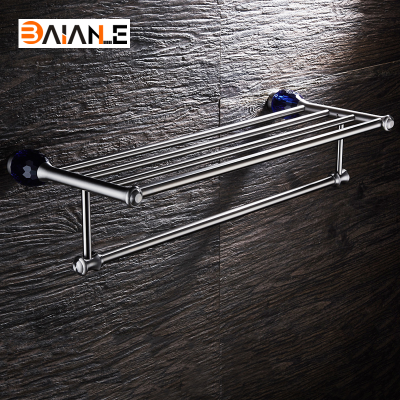 Stainless Steel Bathroom Towel Rack Brushed wall-mount towel Holder towel Shelf Bath Acessorios copper bathroom shelf basket soap dish copper storage holder silver