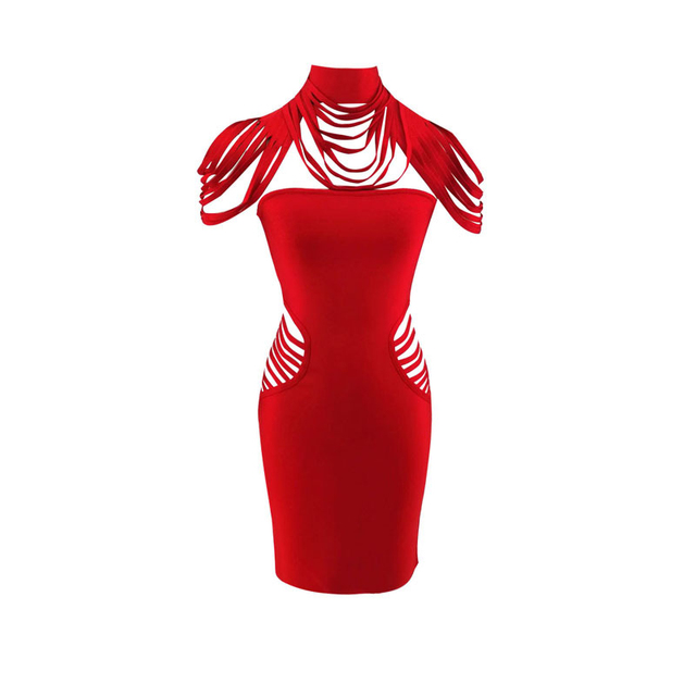 2018 Summer Lady Cocktail Cheap Wholesale Cutout Waist Sleeveless Fringe Shoulder Turtleneck Knee High Red Bandage Bodycon Dress 4