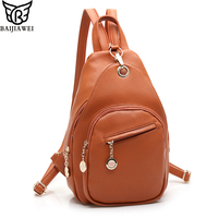 BAIJIAWEI New Arrival 6 Color Women Backpack Bags High Grade PU Leather Girl Chest Packs Elegant