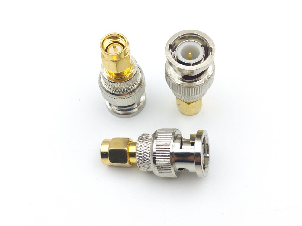 100pcs Brass BNC Male coax RF TO Gold Plated SMA Male connector