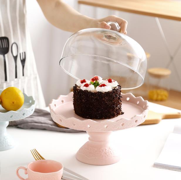 Plaque en céramique de gâteau de couverture en verre ensemble européen haut casse-croûte plateau mariage anniversaire assiettes à Dessert Table bonbons fruits assiette de service