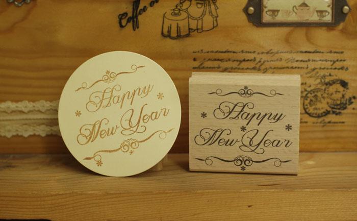 где купить DIY Happy New Year rubber wooden stamps for carimbo stempel  postcard or bookmark scrapbooking stamp 6*5cm free shipping по лучшей цене