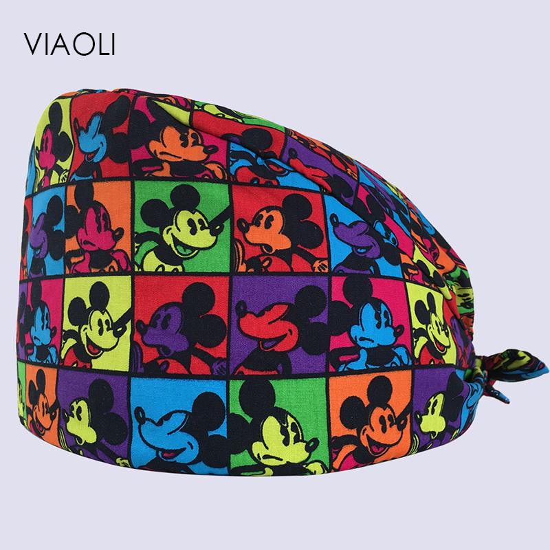Viaoli New Surgical Caps For Men And Women With Sweatband 100% Cotton Medical Caps With Printing