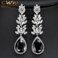 CWWZircons Brand High Quality White Gold Plated Long Black Crystal Drop Earring Fashion Cubic Zirconia Women Jewelry CZ382